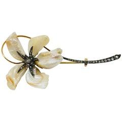 Art Nouveau Natural Baroque Pearl Diamond Silver Gold Brooch
