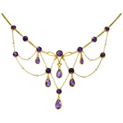 Art Nouveau Natural Freshwater Pearl Amethyst 14 Karat Gold Swag Necklace