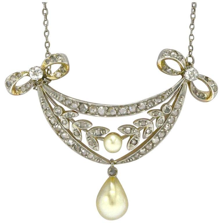 Art Nouveau Natural Pearl and Diamond Necklace Lavaliere Floral Filigree Drop For Sale