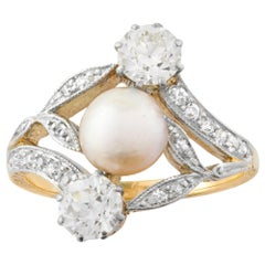Art Nouveau Natural Pearl and Diamond Ring