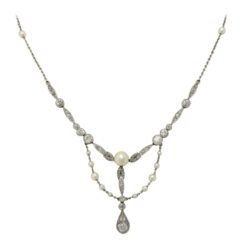 Art Nouveau Natural Pearl Diamond Negligee Necklace Lavalier Bib Style Antique