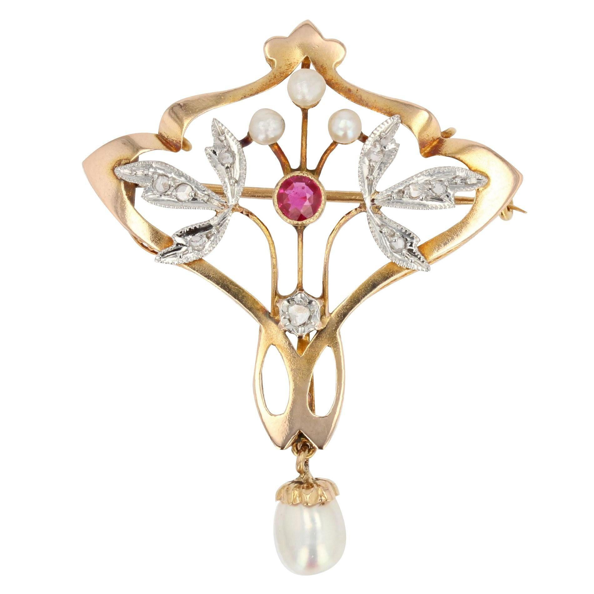 Art Nouveau Natural Pearl Diamond Ruby 18 Karat Yellow Gold Pendant, Brooch