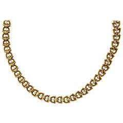 Art Nouveau Natural Pearl Gold Link Necklace