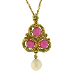 Art Nouveau Natural Ruby Pearl Enameled Pendant Necklace