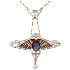 Art Nouveau Necklace with Opal Scarab by Antoine Bricteux