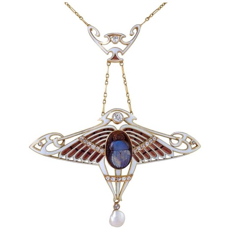 Antoine Bricteux Egyptian Revival opal scarab necklace, ca. 1900, offered by  Macklowe Gallery Jewelry