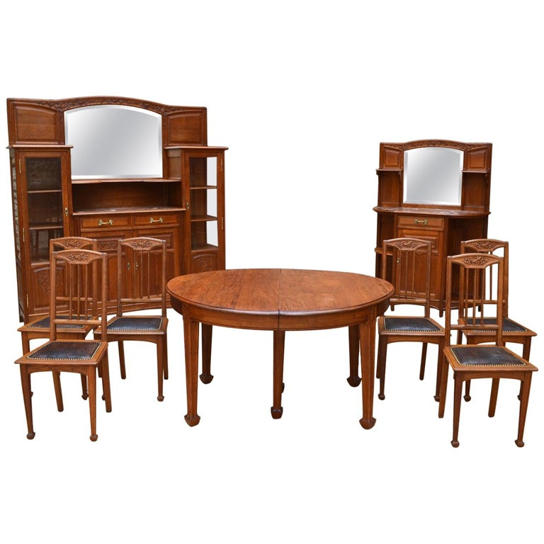 Art Nouveau Oak Carved Dining Room Set On The Theme Of Vine Circa 1910 For