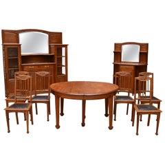 Art Nouveau Oak Carved Dining Room Set on the Theme of Vine, circa 1910