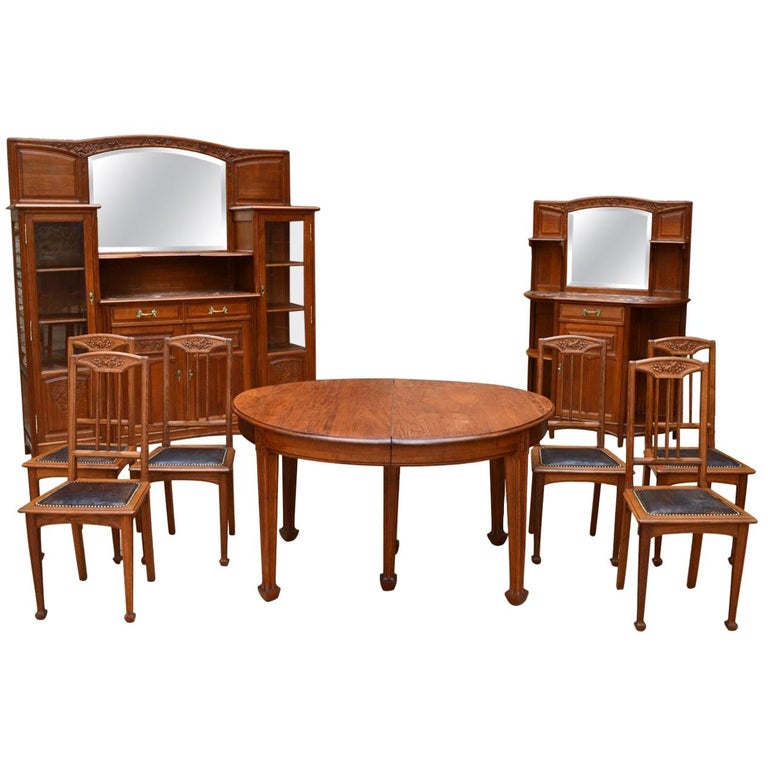 Art Nouveau Oak Carved Dining Room Set On The Theme Of Vine Circa 1910