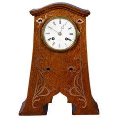 Art Nouveau Oak Cased Mantel Clock with Copper Inlay by Vecten, Paris