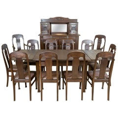 Art Nouveau Oak Dining Room Set, circa 1910-1920