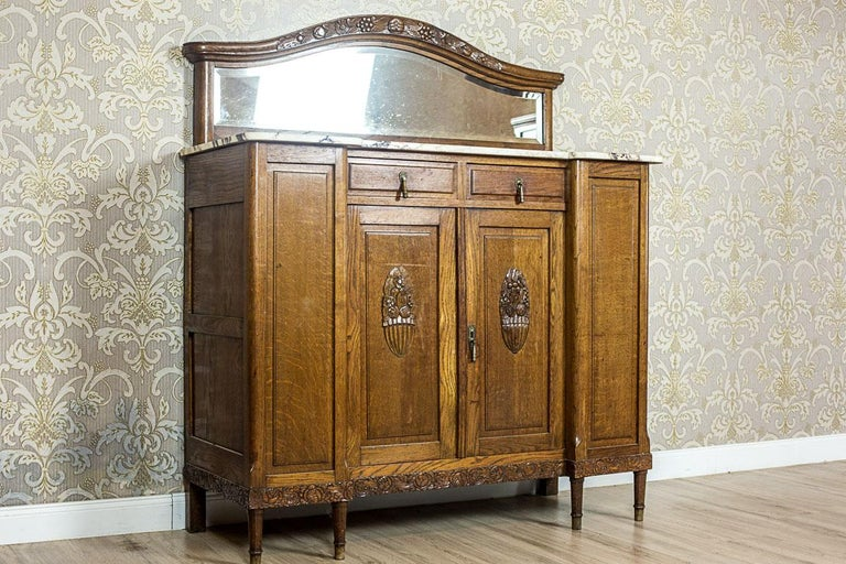 European Art Nouveau Oak Sideboard, circa 1910-1920 For Sale