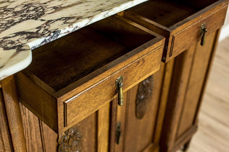 Marble Art Nouveau Oak Sideboard, circa 1910-1920 For Sale