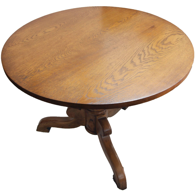 Art Nouveau Oak Small Round / Center Table