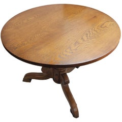 Art Nouveau Oak Small Round / Center Table