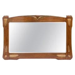 Art Nouveau Oak Wall Mirror