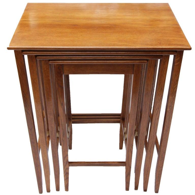 Art Nouveau Oak-Wood Set of Nesting Tables