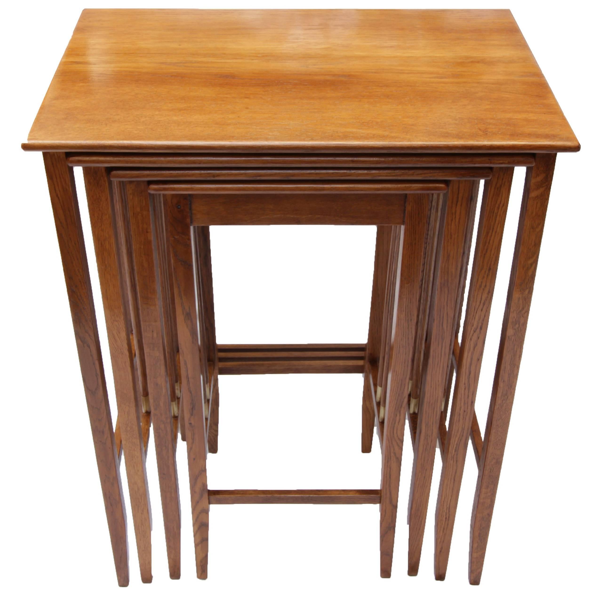 Art Nouveau Oak Wood Set Of Nesting Tables For Sale