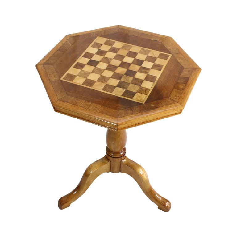 German Art Nouveau Oakwood Chess Table For Sale