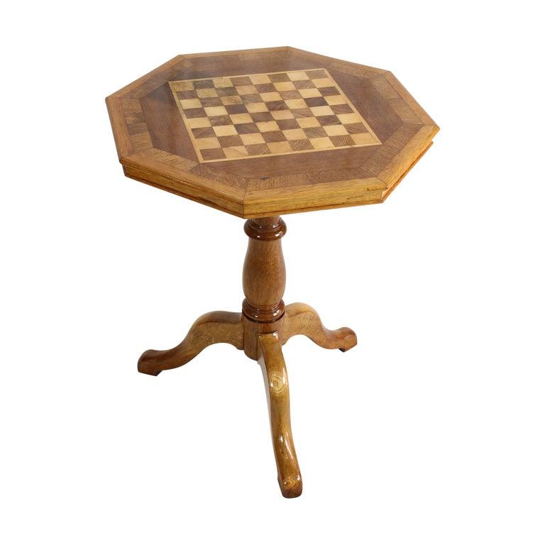 20th Century Art Nouveau Oakwood Chess Table For Sale