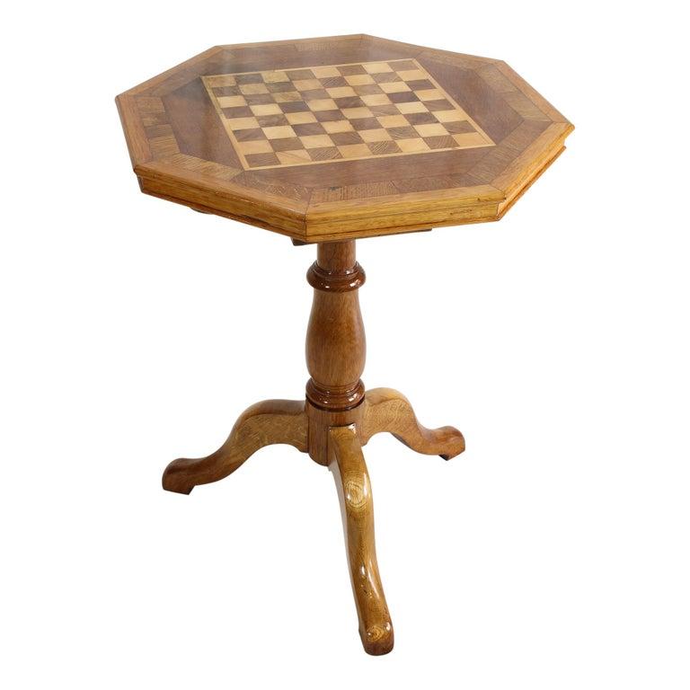 Maple Art Nouveau Oakwood Chess Table For Sale