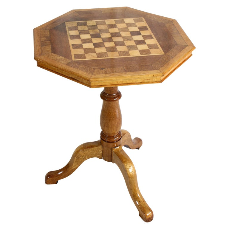 Art Nouveau Oakwood Chess Table For Sale