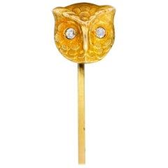 Art Nouveau Old European Diamond 14 Karat Gold Owl Stickpin