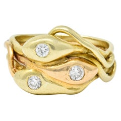 Art Nouveau Old European Diamond 14 Karat Two-Tone Gold Triple Snake Band Ring