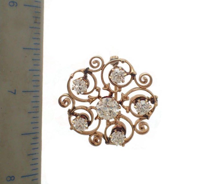 Art Nouveau Old Mine Cut Diamond Pin In Good Condition For Sale In New York, NY
