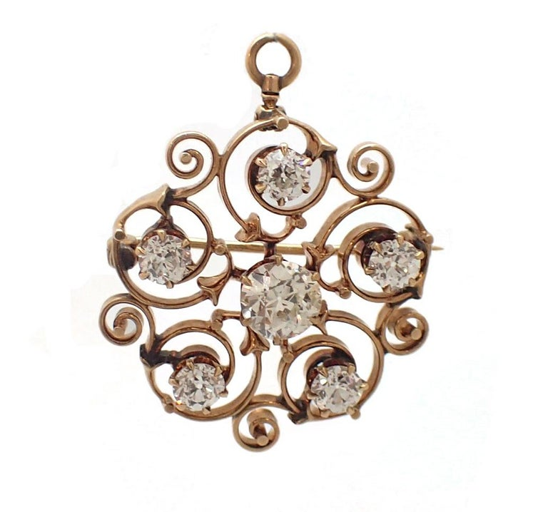 Women's or Men's Art Nouveau Old Mine Cut Diamond Pin For Sale