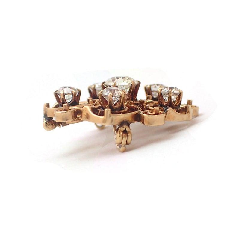 Art Nouveau Old Mine Cut Diamond Pin For Sale 2