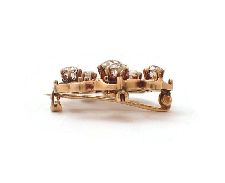 Art Nouveau Old Mine Cut Diamond Pin For Sale 3
