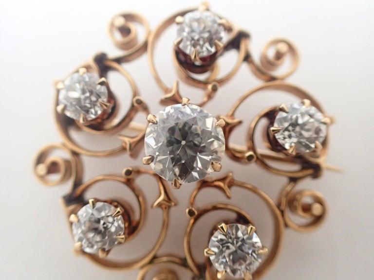 Art Nouveau Old Mine Cut Diamond Pin For Sale 4