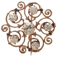 Art Nouveau Old Mine Cut Diamond Pin