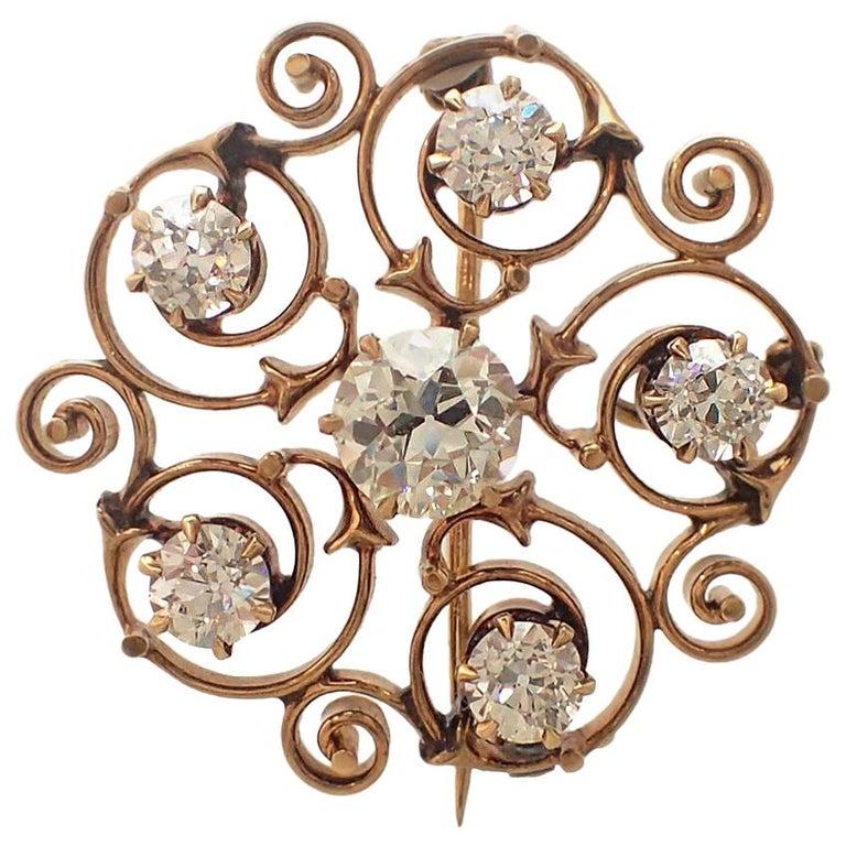 Art Nouveau Old Mine Cut Diamond Pin For Sale