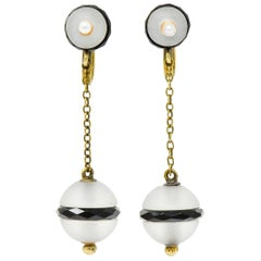 Art Nouveau Onyx Rock Crystal Pearl 14 Karat Gold Drop Earrings
