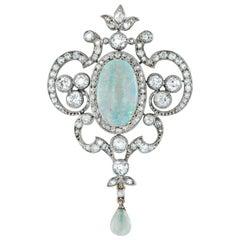 Art Nouveau Opal and Diamond Pendant