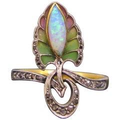 Art Nouveau Opal and Diamonds Plique a Jour Yellow Gold Platinum Enamel Ring