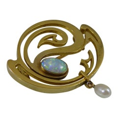 Art Nouveau Opal and Pearl Brooch in High Karat Yellow Gold