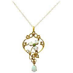 Art Nouveau Opal Demantoid Garnet Seed Pearl 14 Karat Gold Pendant Necklace
