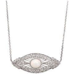 Art Nouveau Opal and Diamond Platinum Necklace