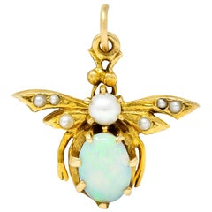 Art Nouveau Opal Pearl 14 Karat Gold Bee Insect Charm