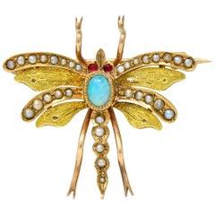 Art Nouveau Opal Pearl 14 Karat Two-Tone Gold Insect Pendant Brooch