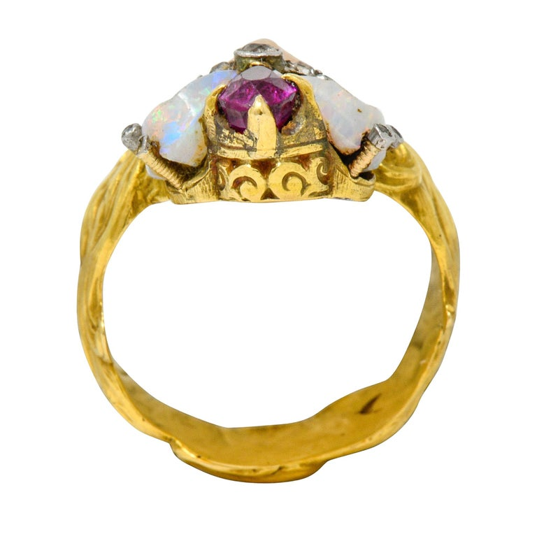 Art Nouveau Opal Ruby Diamond 18 Karat Gold Empress Band Ring For Sale 5