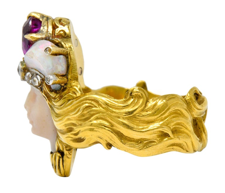 Women's or Men's Art Nouveau Opal Ruby Diamond 18 Karat Gold Empress Band Ring For Sale