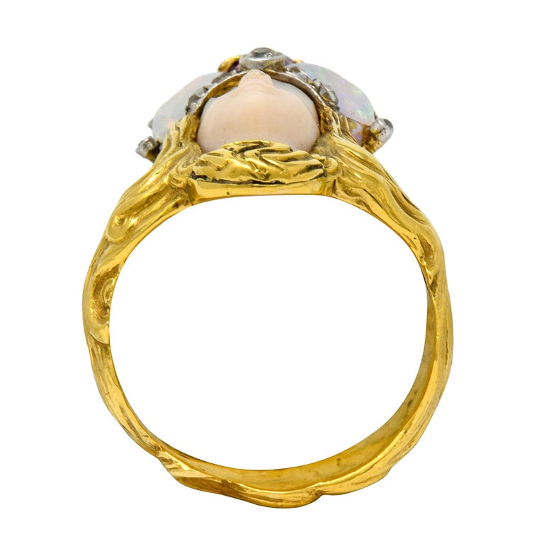 Art Nouveau Opal Ruby Diamond 18 Karat Gold Empress Band Ring For Sale 3