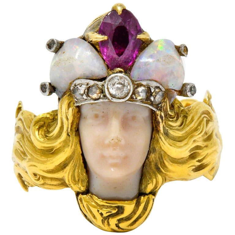 Art Nouveau Opal Ruby Diamond 18 Karat Gold Empress Band Ring For Sale