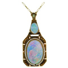Art Nouveau Opal Yellow Gold Pendant Necklace Antique with Seed Pearl Enamel