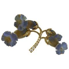 Rene Lalique Art Nouveau Opalescent Glass and Diamond Flower Brooch