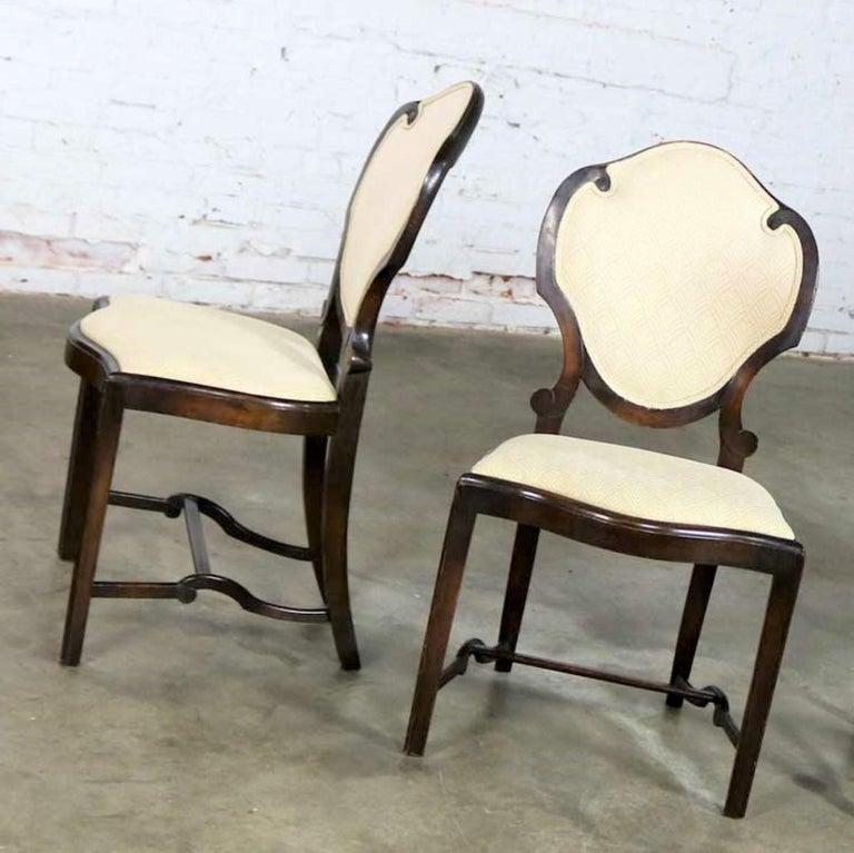 Art Nouveau or Art Deco Shield Back Antique Dining Chairs Set of Four For Sale 5
